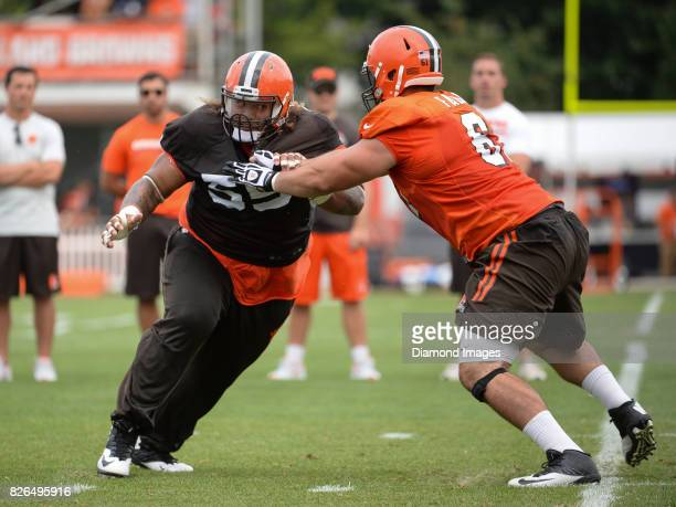 Defensive tackle Danny Shelton of the Cleveland Browns engages center Anthony Fabiano during a training camp practice on August 2 2017 at the...