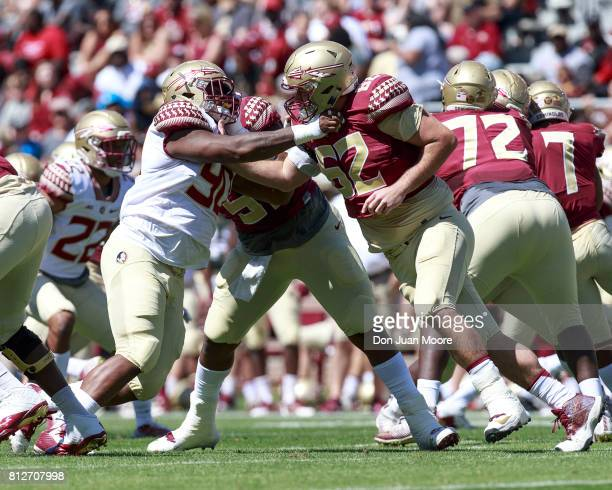 Defensive Tackle Demarcus Christmas goes up against Offensive Lineman Ethan Frith of the Florida State Seminoles during the annual Garnet and Gold...