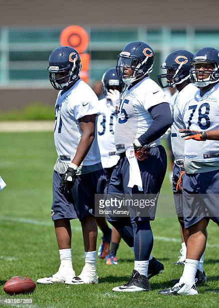 Defensive tackle Ego Ferguson of the Chicago Bears lines up during rookie minicamp at Halas Hall on May 18 2014 in Lake Forest Illinois *** Ego...