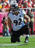 Defensive tackle Haloti Ngata of the Baltimore Ravens gets set on defense against the Kansas City Chiefs during the first half on October 7 2012 at...