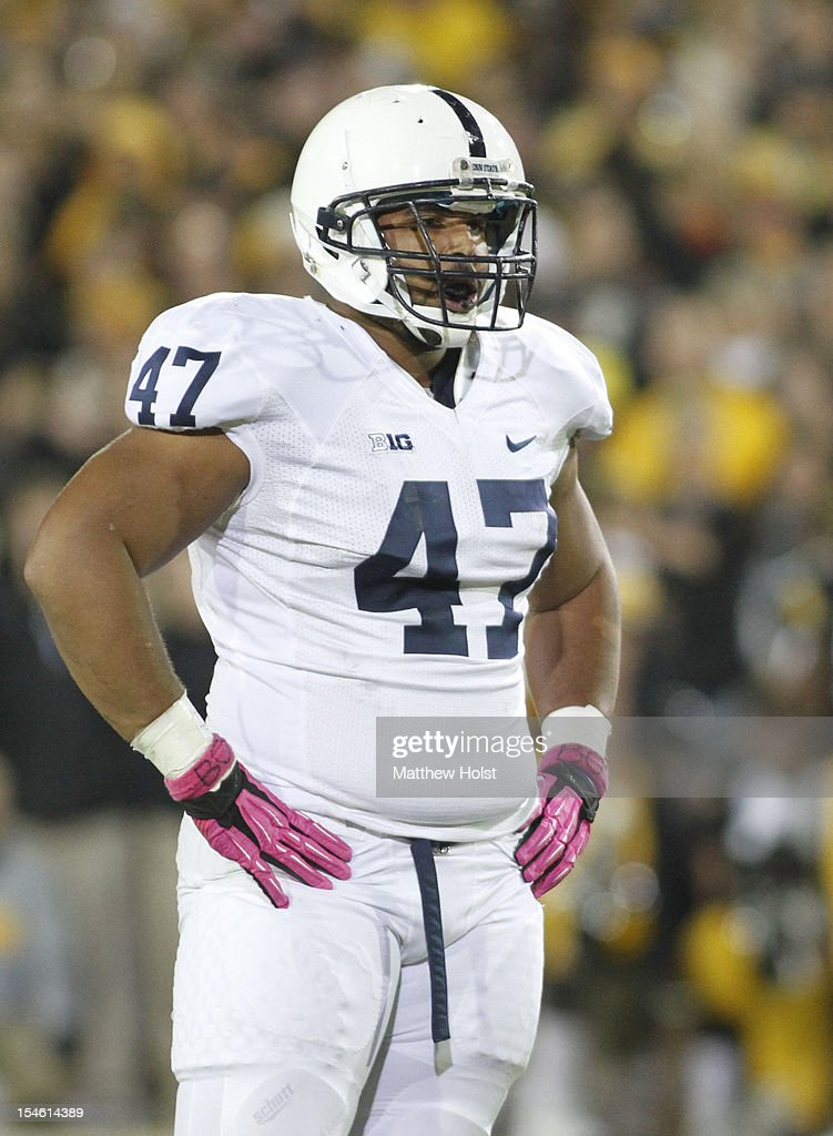 Defensive tackle <a gi-track='captionPersonalityLinkClicked' href=/galleries/search?phrase=Jordan+Hill+-+American+Football+Player&family=editorial&specificpeople=13503545 ng-click='$event.stopPropagation()'>Jordan Hill</a> #47 of the Penn State Nittany Lions during a break in the action in the first quarter against the Iowa Hawkeyes on October 20, 2012 at Kinnick Stadium in Iowa City, Iowa. Penn State defeated Iowa 38-14.