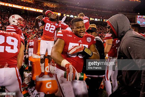Defensive tackle Kevin Maurice and the Nebraska Cornhuskers celebrate after defeating the Michigan State Spartans at Memorial Stadium on November 7...