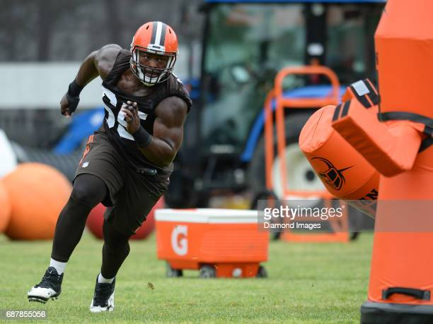 Defensive tackle Larry Ogunjobi of the Cleveland Browns takes part in a drill during the first OTA practice on May 24 2017 at the Cleveland Browns...