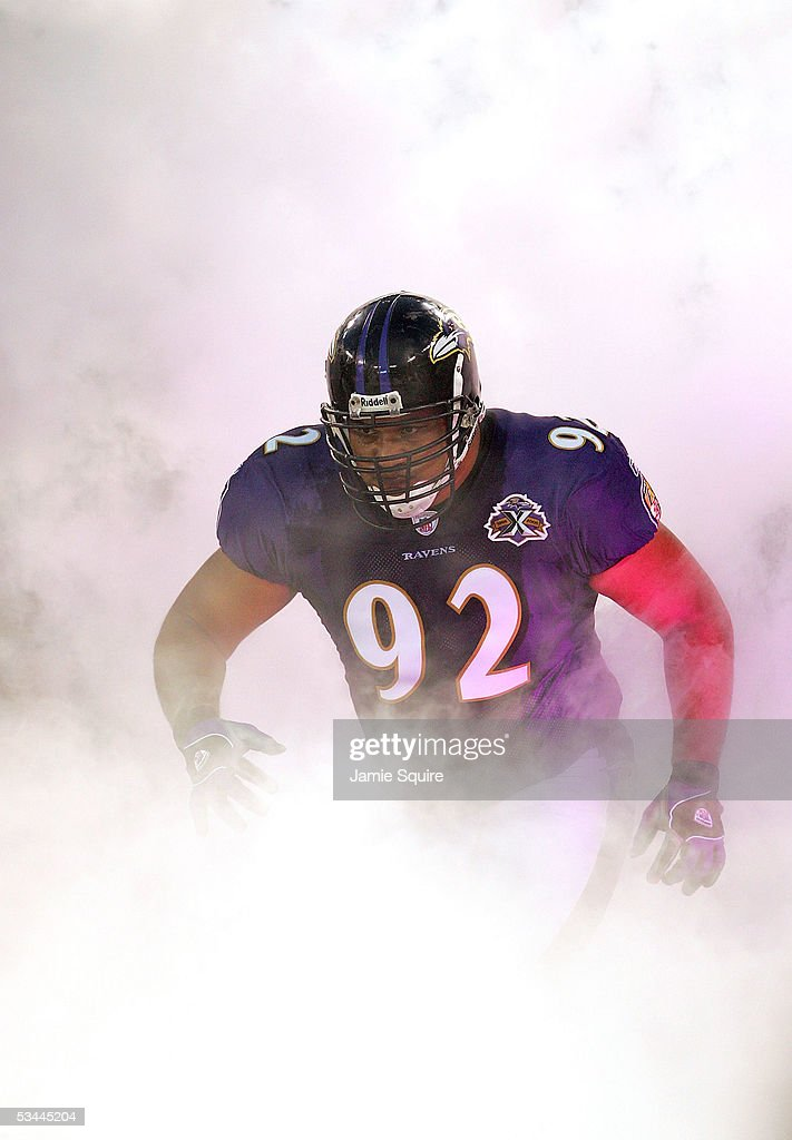 Defensive tackle Maake Kemoeatu of the Baltimore Ravens enters the field during player introductions prior to the preseason game against the...