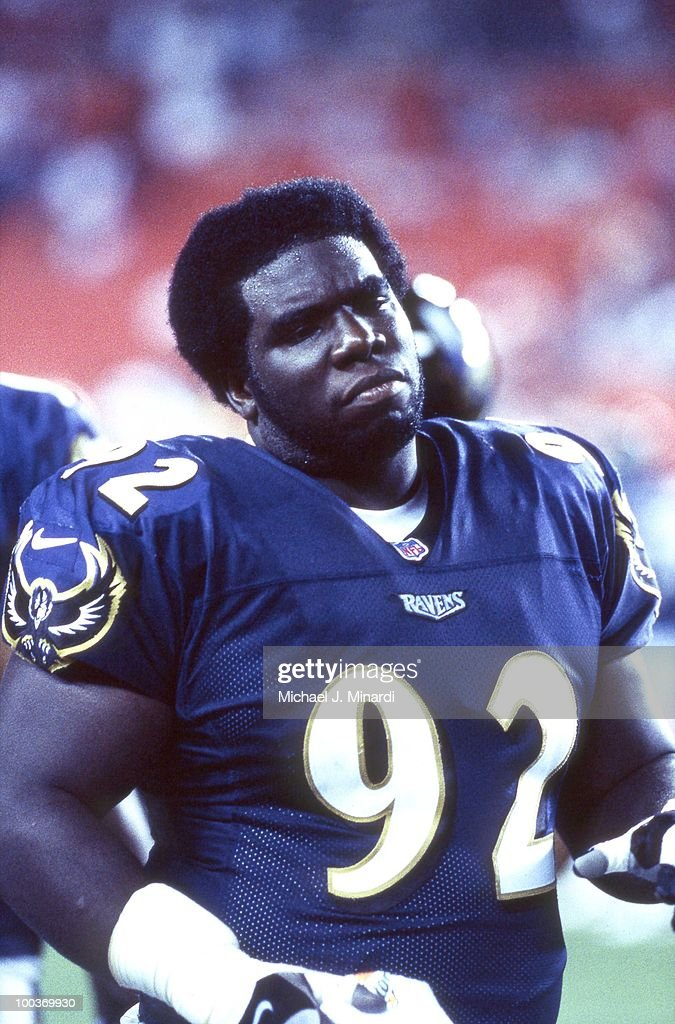 Defensive Tackle Martin Chase #92 of the Baltimore Ravens gets ready to play a NFL Scrimmage game against the Washington Redskins at FedEx Field on July 28, 2000 in Washington, DC.