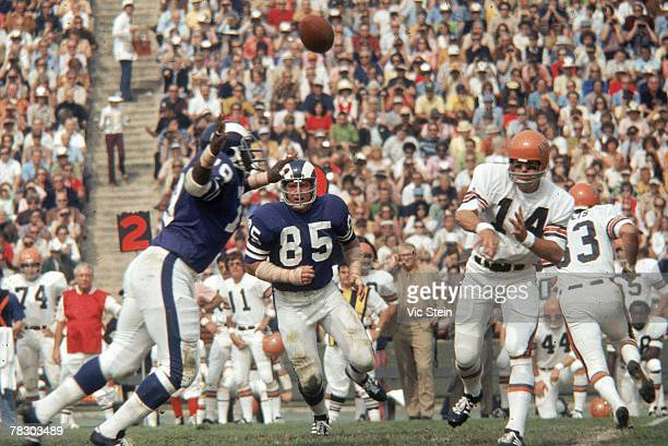 Defensive tackle Merlin Olsen of the Los Angeles Rams pursues Cincinnati Bengals quarterback Ken Anderson during a 1512 win at the Los Angeles...
