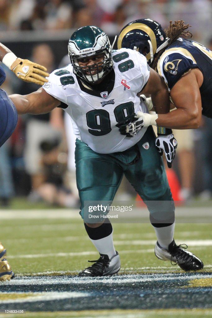 Defensive tackle Mike Patterson of the Philadelphia Eagles fights through the line during the game against the St Louis Rams at the Edward Jones Dome...