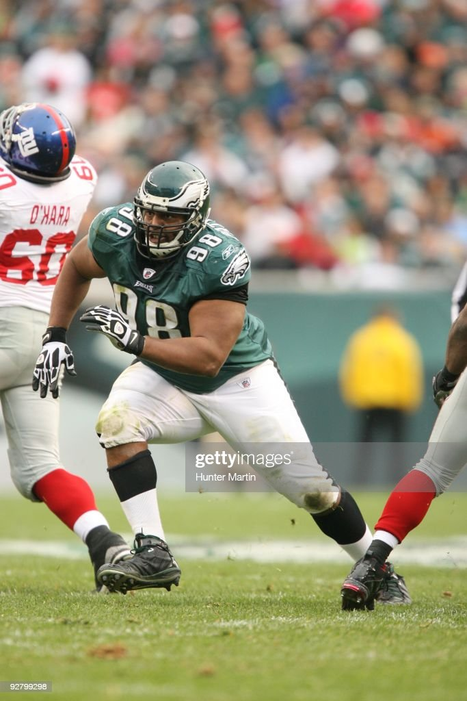 Defensive tackle Mike Patterson of the Philadelphia Eagles rushes the line of scrimmage during a game against the New York Giants on November 1 2009...