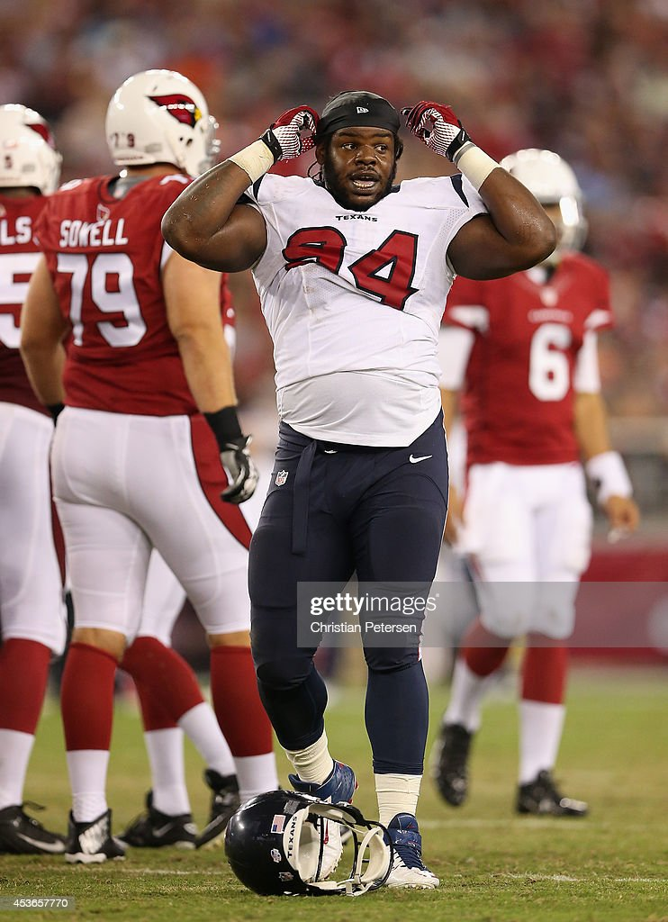 defensive tackle Ricardo Mathews of the Houston Texans during the preseason NFL game against the Arizona Cardinals at the University of Phoenix...