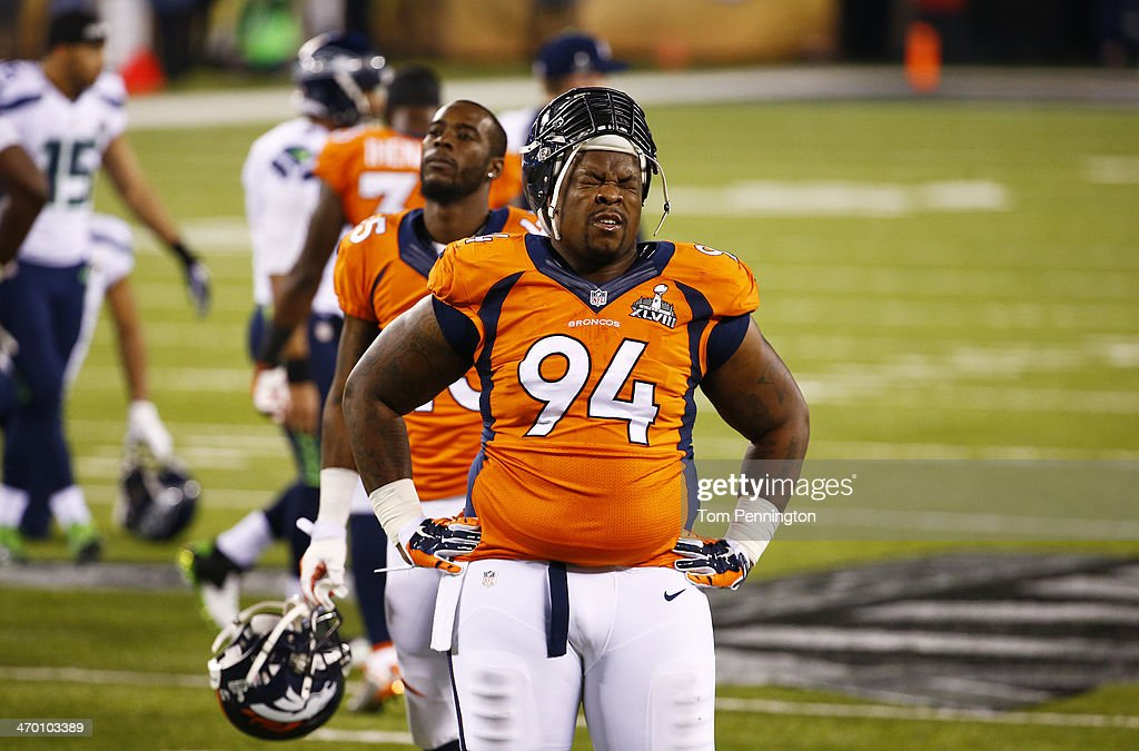 Defensive tackle <a gi-track='captionPersonalityLinkClicked' href=/galleries/search?phrase=Terrance+Knighton&family=editorial&specificpeople=5732536 ng-click='$event.stopPropagation()'>Terrance Knighton</a> #94 of the Denver Broncos during Super Bowl XLVIII at MetLife Stadium on February 2, 2014 in East Rutherford, New Jersey.