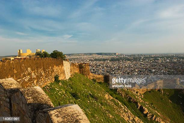Defensive wall of a fort with cityscape, Nahargarh Fort, Jaipur, Rajasthan, India