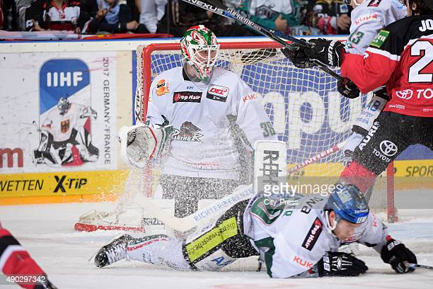 Deff Deslauriers of the Augsburger Panther during the DEL game between Koelner Haie and the Augsburger Panther on September 27 2015 in Cologne Germany