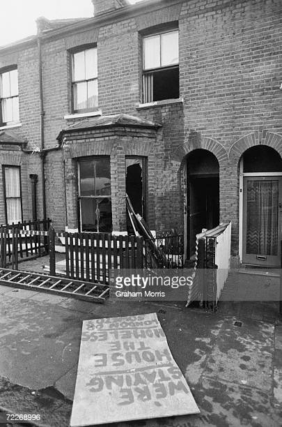 A defiant placard in London's Abercrombie Street after the bailiffs evicted a squatter from Number 78 9th December 1977 The ironic message on the...