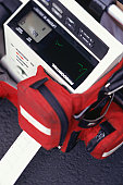 Defibrillator, elevated view close-up