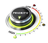 Priority switch button positioned on highest level, white background and green light. Conceptual image for illustration of setting priorities and time management.