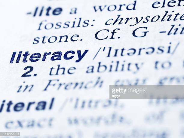 Definition for literacy in the dictionary page