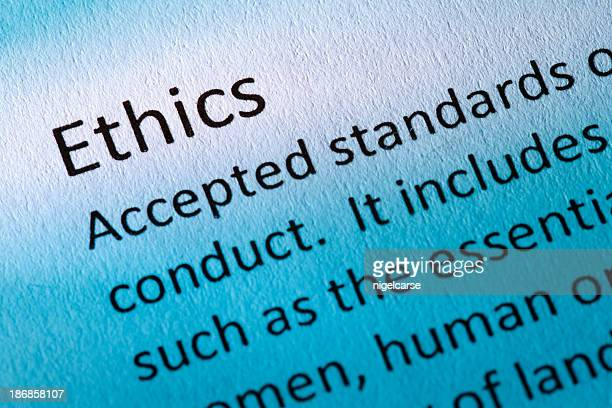 Definition of the word Ethics in blue Tone