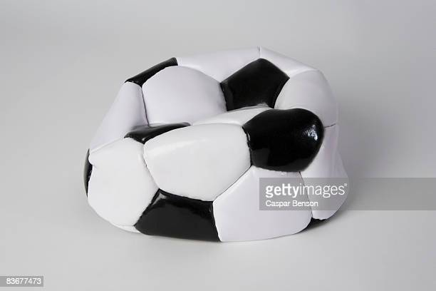 A deflated soccer ball