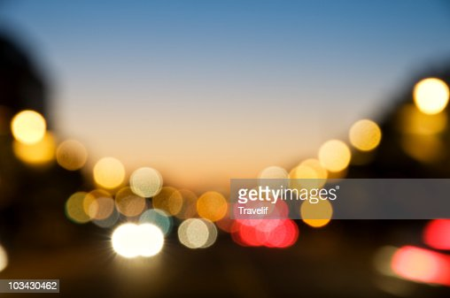 Defocused city lights : Stock Photo