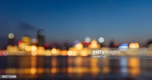 defocused cityscape of Shanghai bund