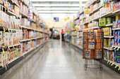 empty blurry out of focus grocery store aisle