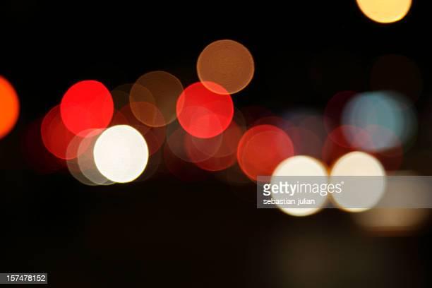 defocused light dots at manhattan traffic in twilight