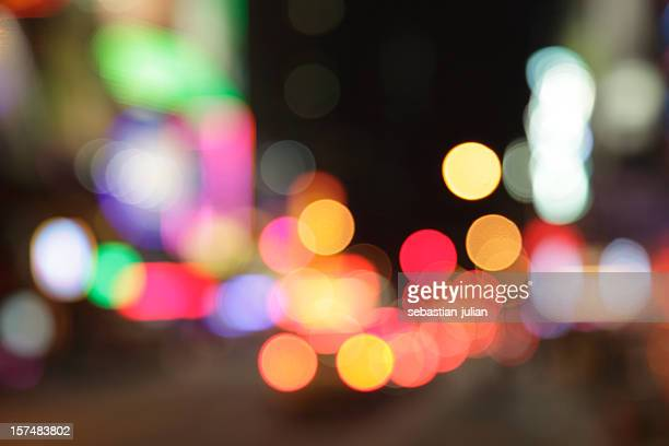defocused light dots at times square in new york city