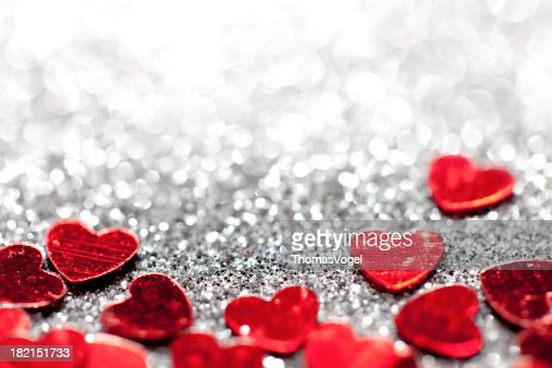 Defocused Lights Glitter hearts - Valentine's Day Love