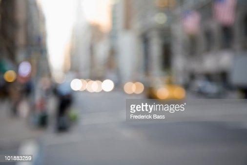 Defocused street scene, Manhattan, New York City, USA