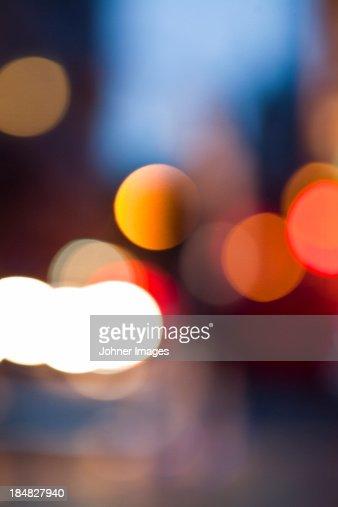 Defocused view of city lights at night