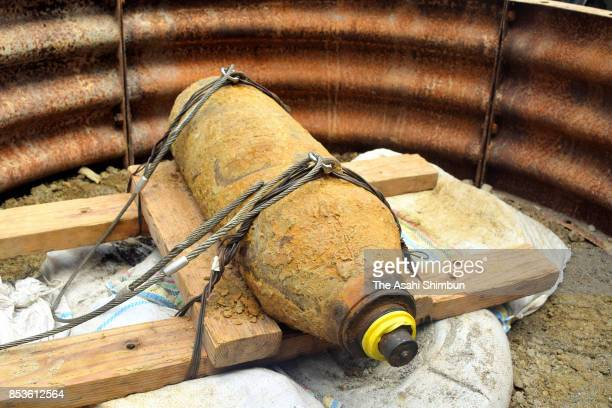A defused US bomb is seen on September 23 2017 in Naha Okinawa Japan A renowned tourist destination here was emptied temporarily for the disposal of...