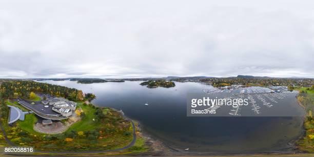 360 degree aerial view of Høvikodden and Sandvika, Norway