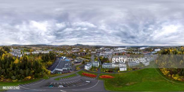 360 degree aerial view of Sandvika, Norway