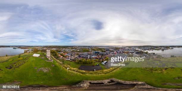 360 degree aerial view of Tønsberg city from Slottsfjell, Norway