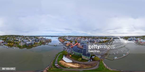 360 degree aerial view of Tønsberg city, Norway