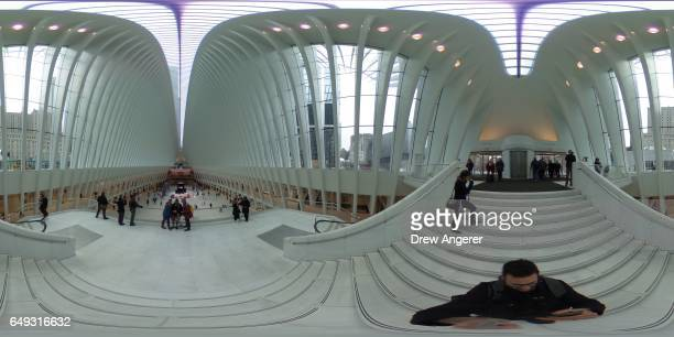 A 360 degree view inside the Oculus at the World Trade Center Transportation Hub March 7 2017 in New York City Designed by Spanish architect Santiago...