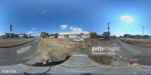 A 360 degree view of a deserted residential area inside the Fukishima nuclear disaster exclusion zone on February 26 2016 in Okuma Japan March 11...