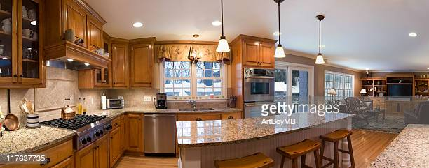 A 180 degree view of a kitchen and living area
