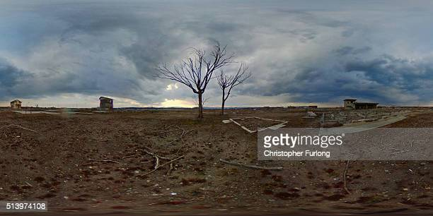 A 360 degree view of the tsunami razed landscaped now evacuated of residents since the Fukishima nuclear disaster on February 26 2016 in Namie...