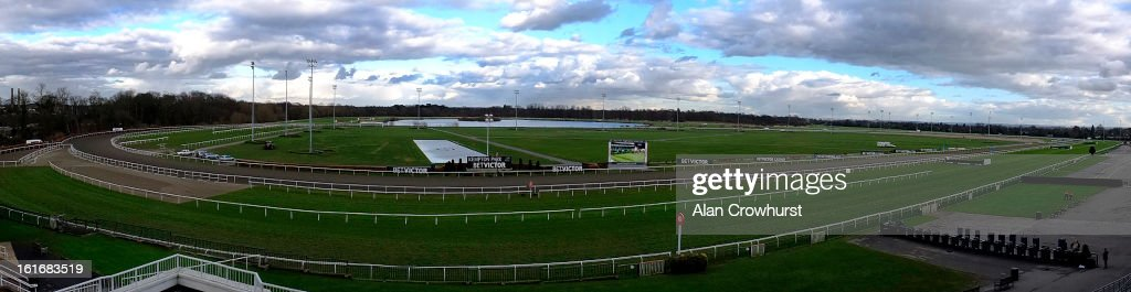 A 180 degrees view of Kempton racecourse on February 14, 2013 in Sunbury, England.