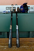 A degtailed view of the bats helmet batting gloves and Wilson baseball glove belonging to Starlin Castro of the Chicago Cubs in the dugout prior to...
