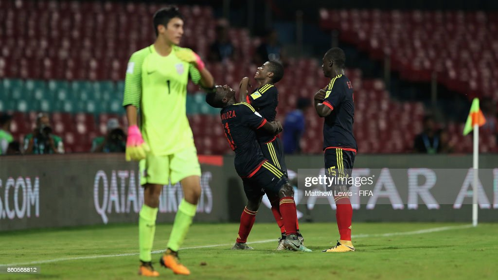 Deiber Caicedo of Colombia celebrates his goal during the FIFA U-17 World Cup India 2017 group B match between USA and Colombia at Dr DY Patil Cricket Stadium on October 12, 2017 in Mumbai, India.