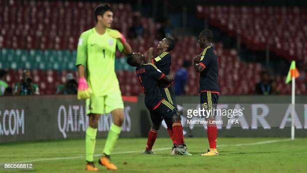 Deiber Caicedo of Colombia celebrates his goal during the FIFA U17 World Cup India 2017 group B match between USA and Colombia at Dr DY Patil Cricket...