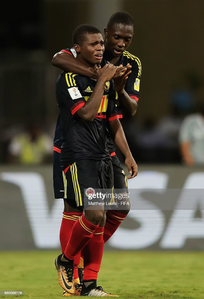 Deiber Caicedo of Colombia celebrates his goal with Gustavo Carvajal during the FIFA U-17 World Cup India 2017 group B match between USA and Colombia at Dr DY Patil Cricket Stadium on October 12, 2017 in Mumbai, India.