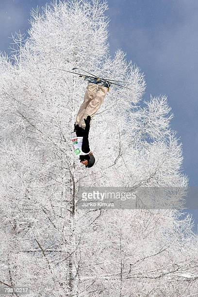 Deidra Dionne of Canada competes during the Aerials Ladies' Qualification of 2008 Freestyle FIS World Cup in Inawashiro at Listel Ski Fantasia on...