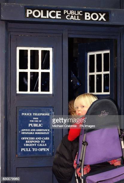 Deidre Booth and Harriet 17 months take a peek in Doctor Who's Tardis one of the items in Britain's biggest auction of film and television props The...