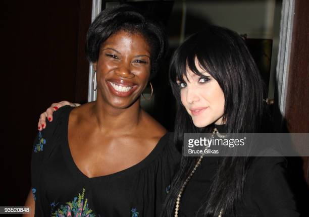 Deidre Goodwin and Ashlee SimpsonWentz pose at the afterparty for Ashlee SimpsonWentz's Broadway Debut in 'Chicago' at Inc Lounge on November 30 2009...