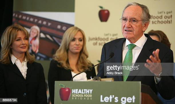 Deidre Hall Andrea Bowen and US Senator Tom Harkin attend a press conference regarding the Child Nutrition Promotion and School Lunch Protection Act...