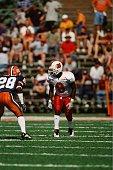Deion Branch of the Louisville Cardinals looks on against the Illinois Fighting Illini on September 22 2001