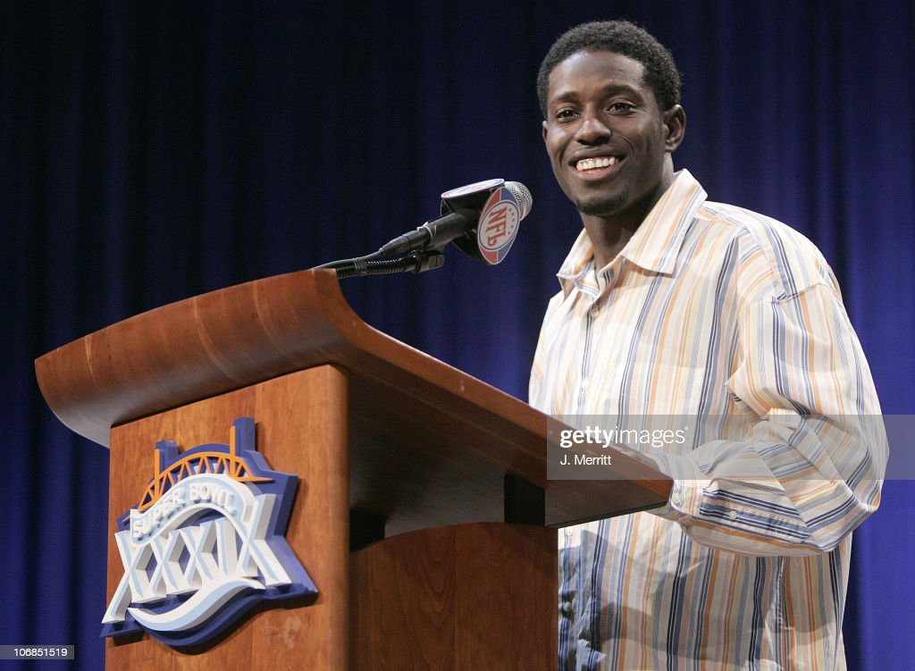 <a gi-track='captionPersonalityLinkClicked' href=/galleries/search?phrase=Deion+Branch&family=editorial&specificpeople=206261 ng-click='$event.stopPropagation()'>Deion Branch</a> of the New England Patriots speaks at a Press Conference where he was awarded the Pete Rozelle Trophy for the Most Valuable Player Award for Super Bowl XXXIX along with a new Cadillac XLR.